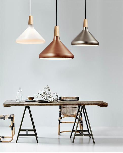 Nordic Retro Pendant Lights Modern Led Pendant Lamps Copper Hanglamp Aluminum Luminaria For Living Room Kitchen Light Fixtures Modern Ceiling Lamps