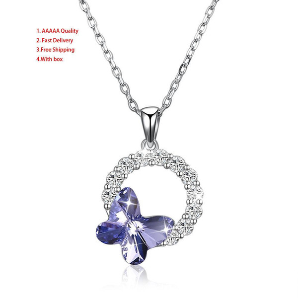 Butterfly Sterling Silver Women's Svn323 No 50cm Independent Packaging Red Crucifix Cross High Quality Jewelry Swarovski Crystals