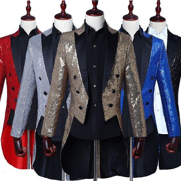 Mens Sliver Gold Sequin Glitter Blazer Jacket Men Nightclub Dinner Party Wedding Tailcoat Suit Men Gorgeous Punk Prom Costume Homme