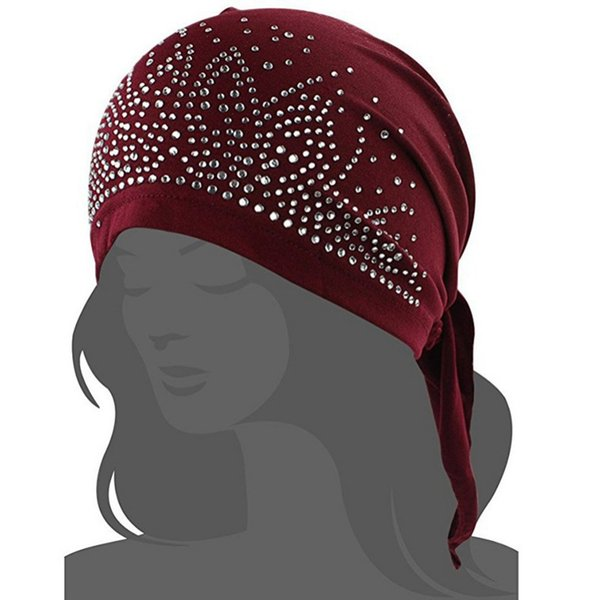 gorro de algodón Chemo Hat Gorro de la cabeza del turbante mayor-NUEVO transpirable Bandana bufanda pre atado con el taladro caliente Headwear para pacientes con cáncer