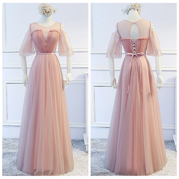 Half Sleeves A-Line Long Real Photos Bridesmaids Dresses Floor Length 2019 Lace Up Back Vestidos De Honor Of Maid Cheap Prom Party Gowns