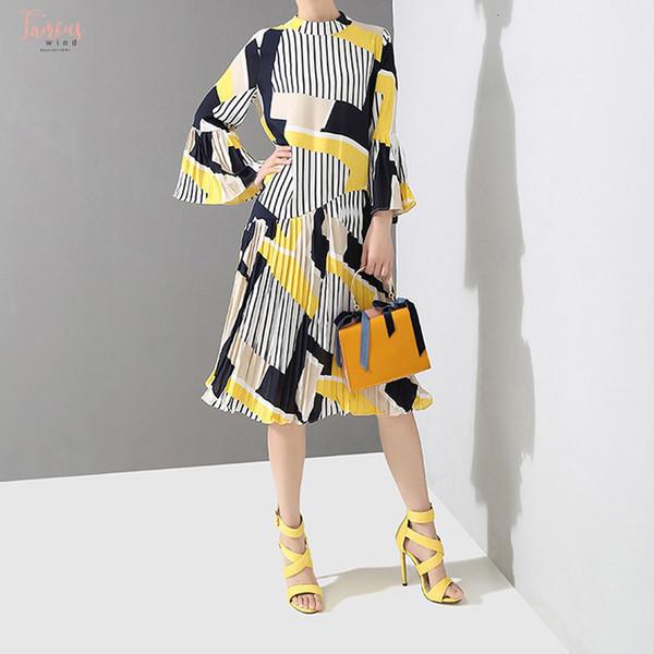 Kore Stili Elbise Kadın Pileli Uzun Kollu Vahşi Pamuk Elbise Kadın Yaka Yeni 2019 Kadınlar Giyim Standı