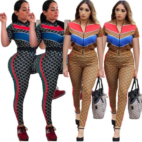 Womens sportswear manches courtes tenues deux pièces ensemble sexy mode survêtements imprimés sweat-shirt jogging serré costume de sport klw0886
