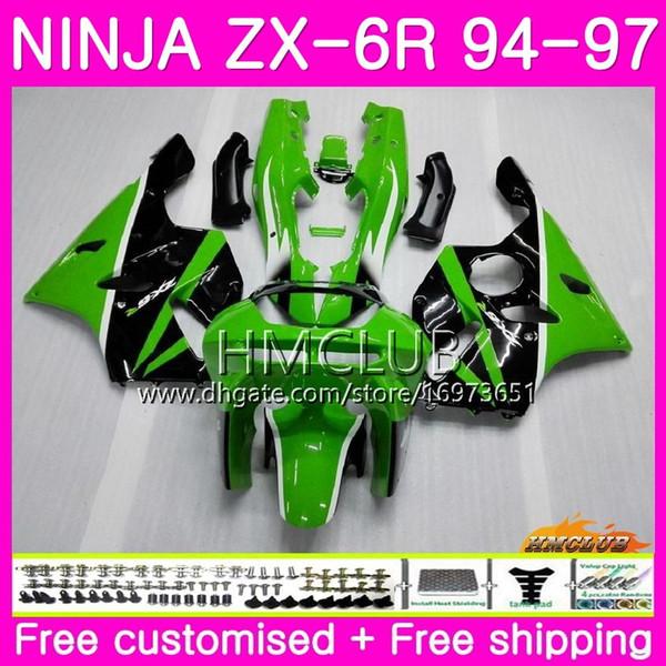Cuerpos para KAWASAKI NINJA ZX 636 600CC ZX6R 94 95 96 97 fábrica verde 61HM.9 ZX600 ZX636 ZX-6R 94 97 ZX 6 R 6R 1994 1995 1996 1997 Carenado