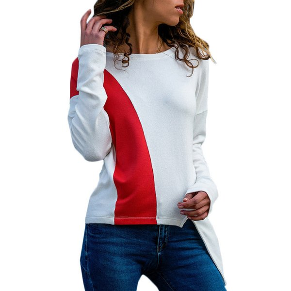 2019 New Fashion Casual Patchwork Long Sleeve Pullovers Round Neck Irregular Hem Hoodies Harajuku Blue White Sweatshirts Female