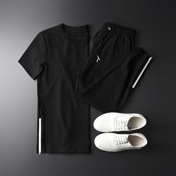 New Summer Men Sets (T-SHIRT+PANT) Luxury Ventilate Casual Short Sleeve Man Sets Plus Size 4XL Elastic Waist Pants Mens