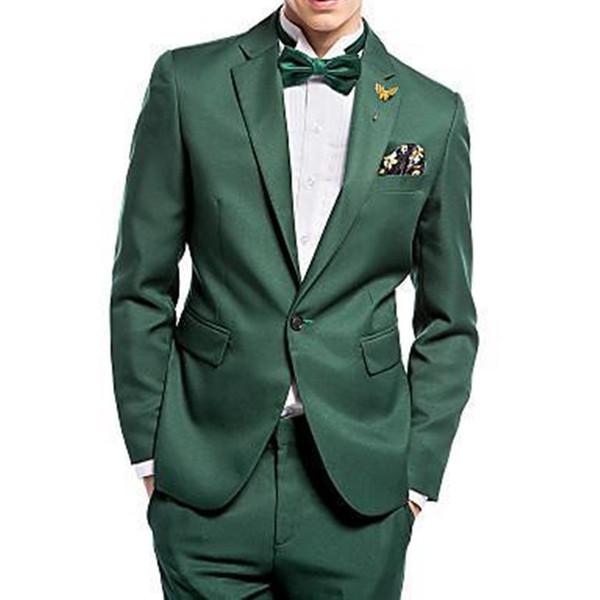 High Quality One Button Dark Green Groom Tuxedos Groomsmen Men Wedding Suits Formal tuxedo jacket men suit (Jacket+Pants+Tie)