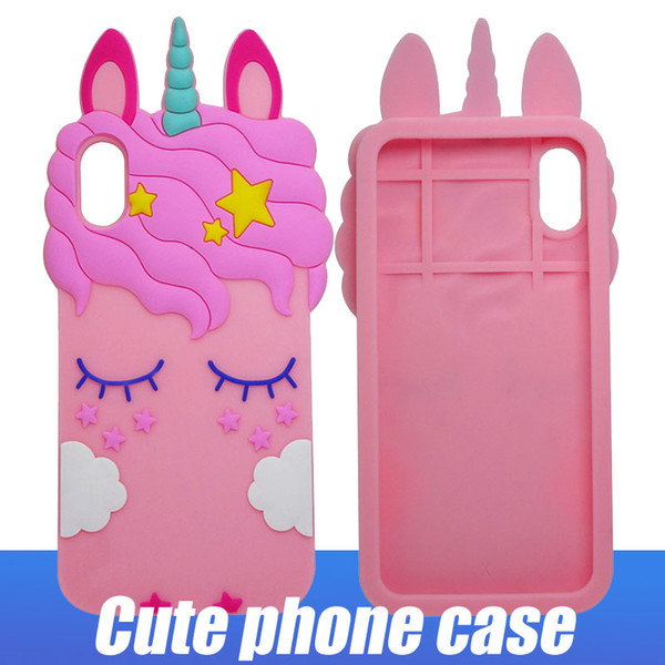 3D Silicone Cartoon Case Animal Eyelash Horse Cell Phone Case For Iphone XS Max X 6 7 Plus Soft Flexible Cover Shell For Samsung