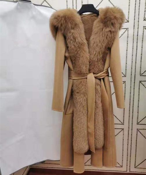 le donne europee e americane di abbigliamento invernale 2019 nuovo stile manica lunga con cappuccio di pelliccia di volpe Sease pelo di coniglio fodera in lana cappotto di pelliccia