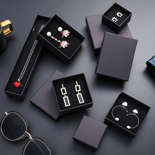 best selling Jewellry necklace ring and earring box, black gift boxes, Kraft paper with sponge ,free shipping and high quality