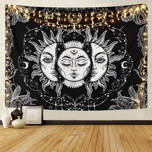 Psychedelic Blanco Negro Sol y la Luna Mandala Tapiz Tapiz Celeste tapicería de la pared de la decoración del Hippie tapicería de la pared Alfombras 150x130cm