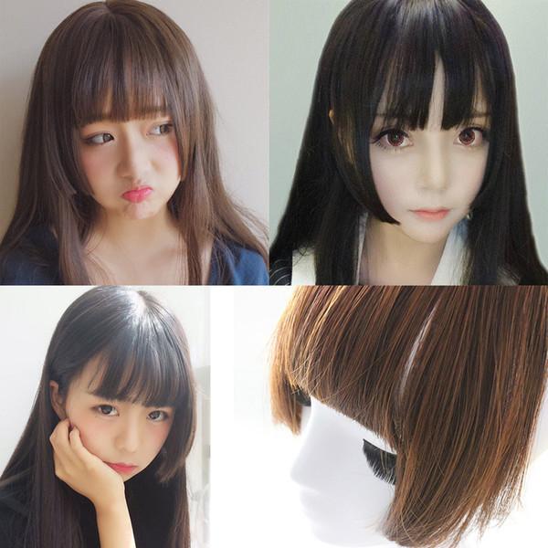 Precio de fábrica 1 unid Mujeres Moda Señora 25 cm Pretty Girls Clip en el frente Neat Hair Bang Fringe Extensión del pelo pelucas Stand Jan10