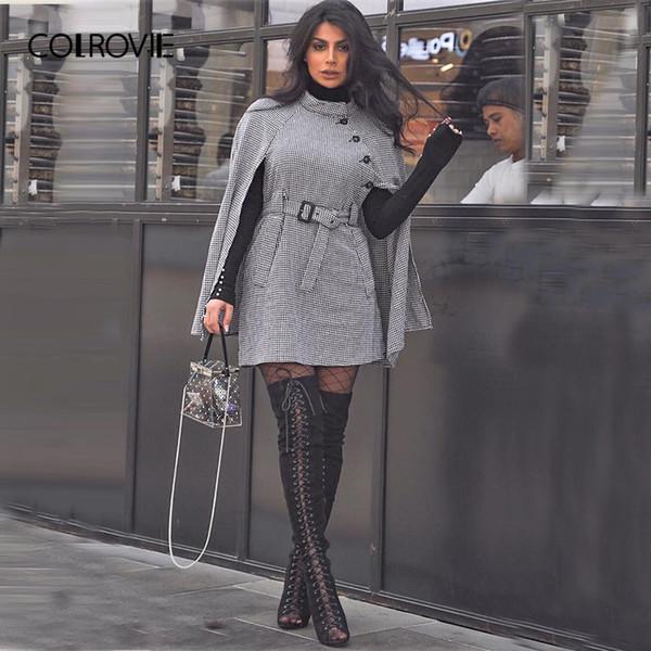 COLROVIE Negro Vintage Plaid Auto Cinturón Pata de Gallo Cabo Mezcla de lana Abrigo de Mujer 2018 Otoño Capa de manga Invierno Mujer prendas de abrigo