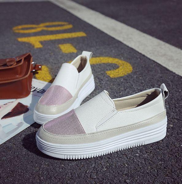 Top16 sıcak satış bayan moda ayakkabı yeni stil bayanlar düz ayakkabı kutusu ile yüksek kalite deri yumuşak tabanı ayakkabı size35-41
