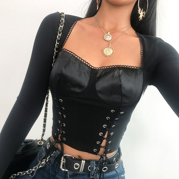Tops Tees Vintage Mulheres Camisa de Manga Longa Mulheres Spuare Collar T-shirt Top Safra 2019 Estilo Punk Bandage Preto Sexy Top Curto
