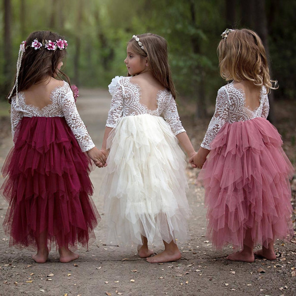 Girls princess dresses kids ball gown party dress lace long sleeve crew neck backless hollow out floor-length one piece
