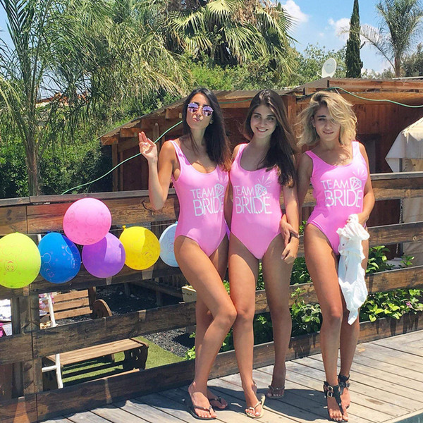 b8ab984692a Team Bride Print One Piece Swimsuit Sexy Thong Swimwear Women High Cut Pink Bathing  Suit Backless