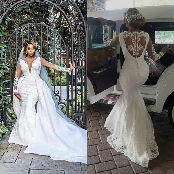 2020 Plus Size Wedding Dresses With Detachable Train Lace Appliqued V Neck  Mermaid Wedding Dress Long Slevee Country Style Bridal Gowns Wedding Dress  ...