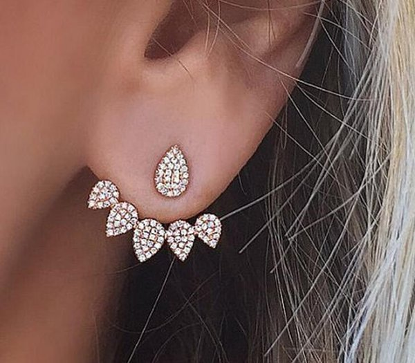 Crystal waterdrop rhinstone earstud flower earring antique gold plated statement jewelry best gifts free shipping