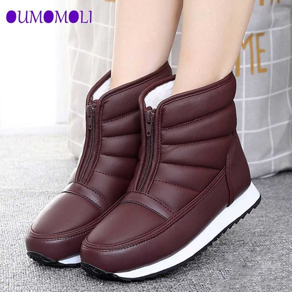 snow boots 2019 brand women winter boots mother shoes antiskid waterproof women fashion casual shoes plus size pu leather warm