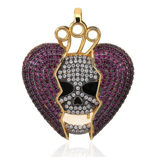 Solid Iced Out Chain Red Broken Heart Skull Skeleton Necklaces Cubic Zircon Pendants Hip Hop Jewelry Accessories Stainless Steel Chain