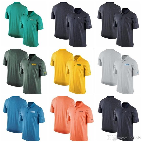 Mens t shirts Bengals Broncos Lions Packers Texans Rams Dolphins Team Stadium Performance Polo Hot Sale