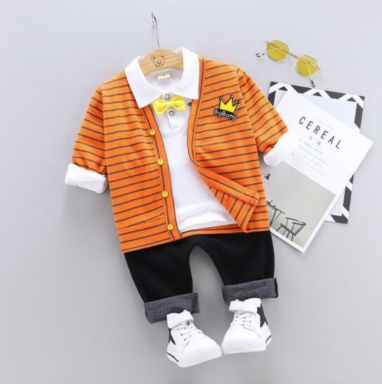 Baby Boy Clothes 2019 Korean Casual Lapel Shirt Top+Striped Cardigan Jacket+Pants 3PCS Baby Clothing Children Bebes Jogging Suit