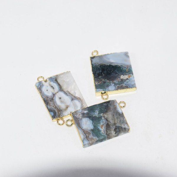 2019 grey natural raw crystal quartz slice rectangle connector druzy stone necklace pendant for women accessories