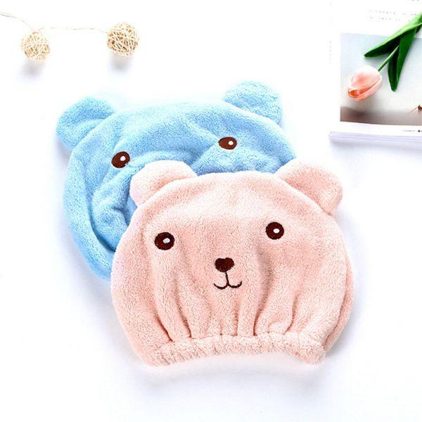 New Cute Bear Bath Cap Soft Microfiber Hair Turban Quickly Dry Hair Hat Wrapped Towel Bathing Cap Speed Dry Shower