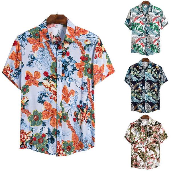 Oeak moda floreale hawaiana Camicia Uomini camicia casuale Beach 2020 parti superiori di estate manica corta partito Mens vacanze Chemise Mens