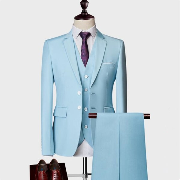 (Blazer+Pants+Vest) Classic Men Formal Business Suit Slim Royal Blue Wedding Groom Wear Male Suit Black Gentlemen Costume M-5XL