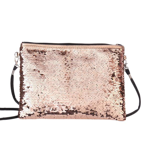 Cheap Ladies Handbags Messenger Bag female PU Leather Messenger Bags Solid Color Sequins Handbag Shoulder Tote Purse torebki
