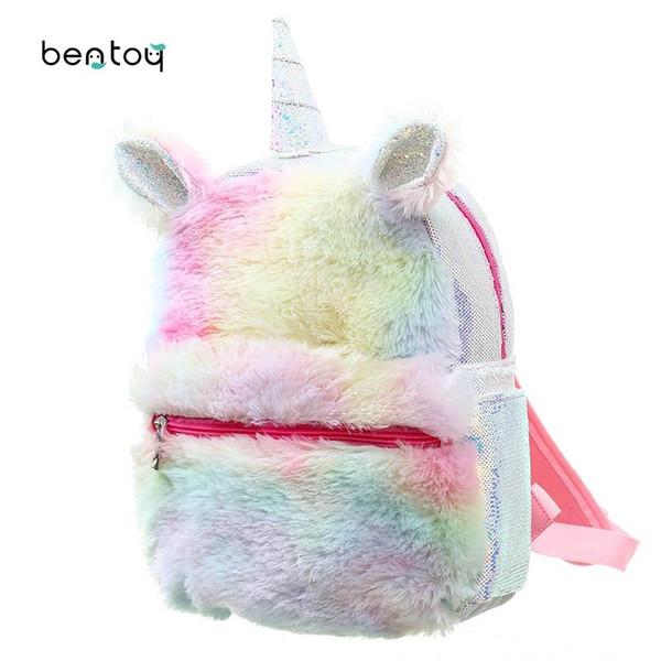 Yeni Sequins Unicorn Sırt Çantası Kadın Kış Karikatür Peluş Sırt Çantası Kızlar Için Seyahat Sırt Çantaları Kadın Sırt Çantası Peluş Schoolbag Için