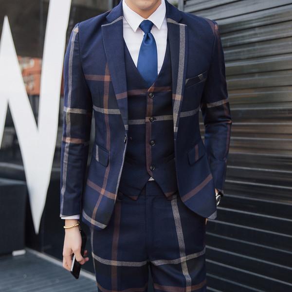 Männer karierten Anzug dreiteiligen Anzug Männer schlank Hochzeitskleid Bräutigam Freizeit britischen Stil (Jacke + Hose + Weste)