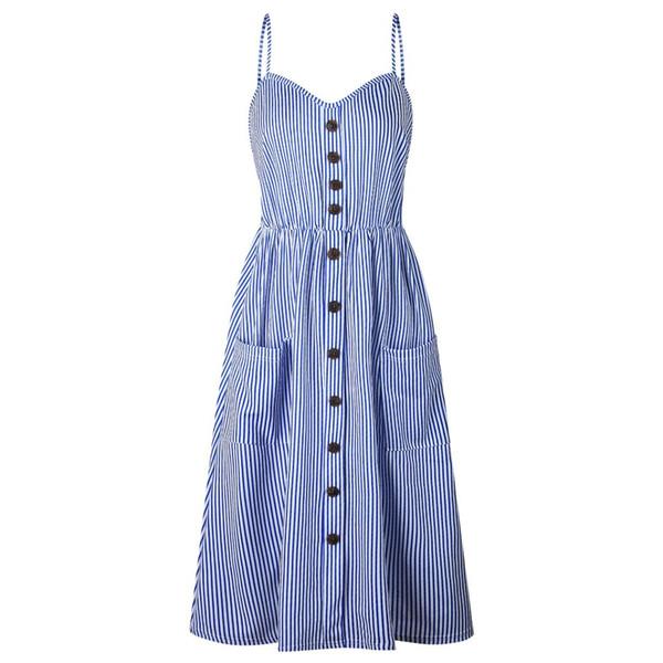 2019 Pockets Sleeveless Shirt Dress Summer Boho Beach Dresses Women Casual Botton Striped Print A-line Midi Party Dress Vestidos