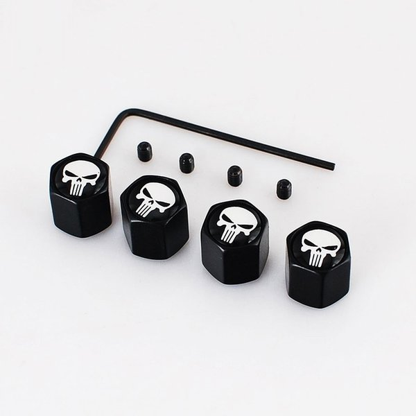 Europe and America 4Pcs/Set Classic Skull Anti-theft Chrome Car Wheel Tire Valve Stem Cap For Car/Motorcycle,Air Leakproof