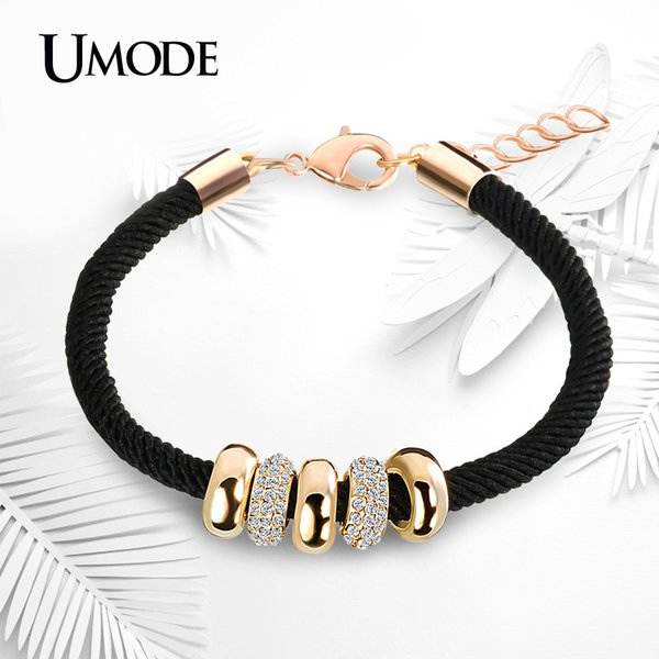 Umode Simple Slide Beads Designer Austrian Rhinestones Gold Color Rope Charm Bracelets Chain Lobster Jewelry For Women Ub0074 J190703