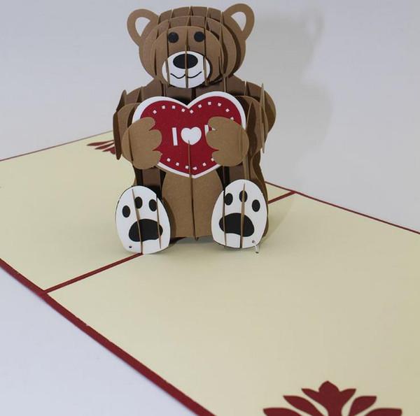 Teddy bear 3D laser cut pop up Custom greeting cards Printing handmade birthday designs wishes party supplies