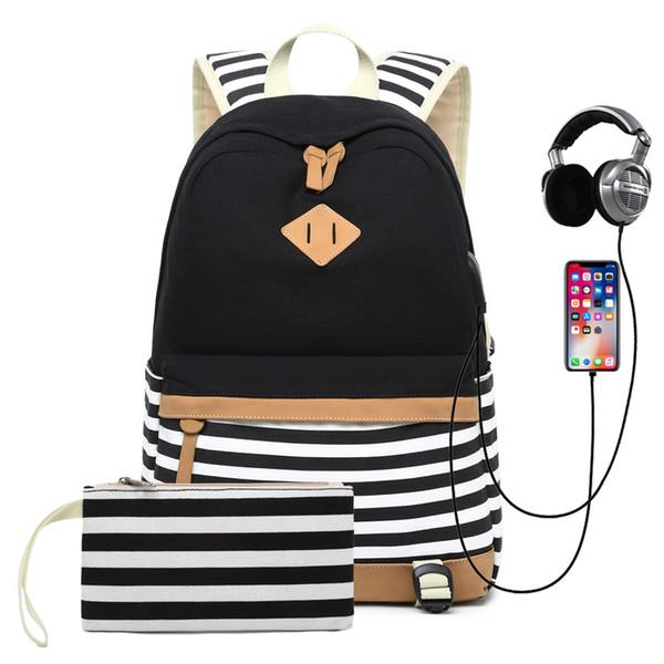 Рюкзак большой емкости для женщин и подростков Полосатый повседневный школьный рюкзак USB с рюкзаком для наушников MochilaMX190903