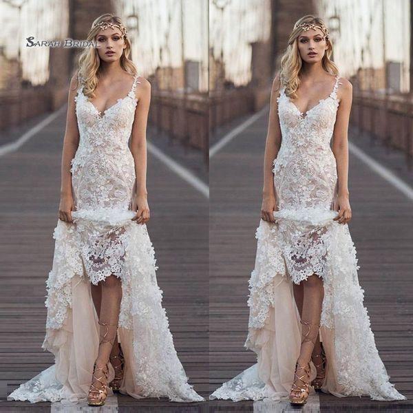 top popular 2019 Spaghetti Lace Mermaid Sweep Train Bride Dress Appliques Sleeveless Wedding Bridal Gown High-end Wedding Boutique 2020