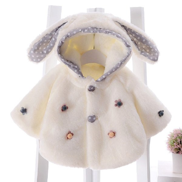 Baby Girl Faux Fur Fleece Winter Warm Coat Cloak Jacket Thick Warm Clothes Rabbit Ears Hooded Outerwear for Girls