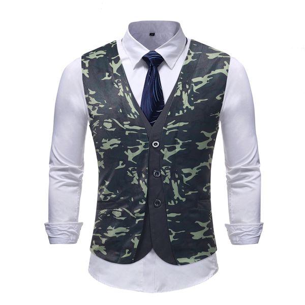 Vest Men 2019 Autumn Winter New Camouflage Casual Men Fake Two Pieces Suit Vest Formal Wear Chalecos Para Hombre Coat