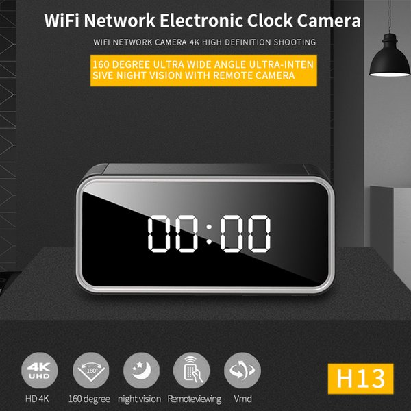 WIFI 4K HD Security Network Camera Infrared Night Vision Electronic Mirror Clock
