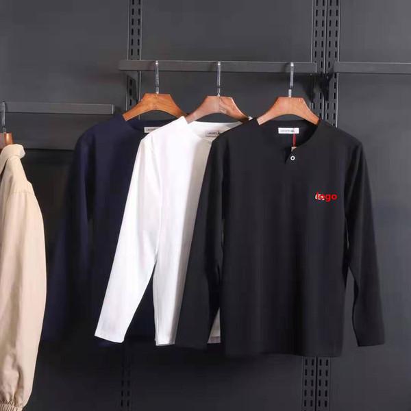 Primavera Designer de Luxo T Camisas Dos Homens Tops Camisa de Marca Dos Homens de Roupas de Manga Longa Tshirt Mens Tops Moda Streetwear Tees
