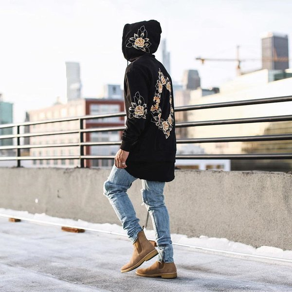 Fashion Style Floral Print Pullover Long Sleeve Tshirt 2018 Spring Autumn Men Hoodies High Street Casual Hip Hop Sweatshirt