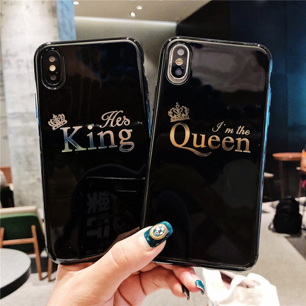 Cartoon Crown Phone Case For iPhone X 8 Plus Letter KING QUEEN Back Cover For iPhone 7 6 6S Plus Soft TPU Silicone Cases