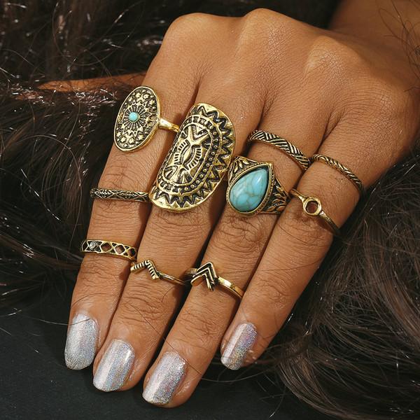 10 pçs / set Retro turquesa anéis anéis de prata de ouro Designer de jóias com extra amostras grátis aleatoriamente