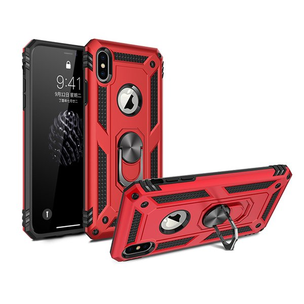 For iPhone X XS Max Hybrid Rugged Shockproof Hard Armor Stand Case For iphone XR Metal Ring Magnetic Car Holder Cover Coque