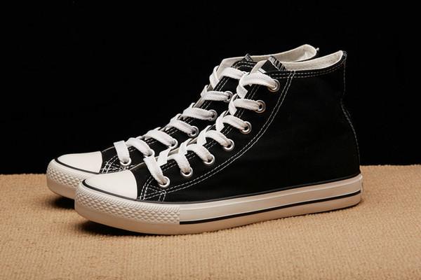 Yeni Varış Moda Boy Flats Ayakkabı Tüm Siyah Beyaz Rahat Ayakkabılar Adam Kadın Kanvas Ayakkabılar Dantel-Up Yüksek Top ayakkab ...