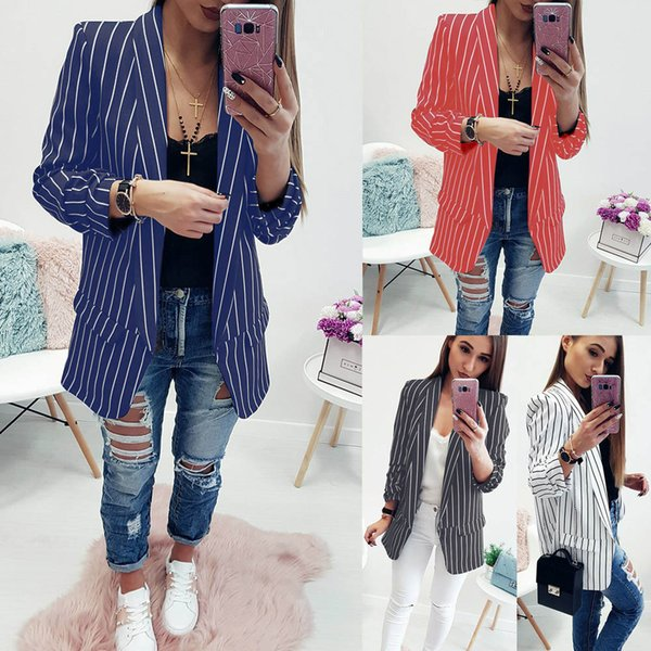 2018 Europe autumn female blazers striped notched pockets casual sexy fashion open stitch slim sheath woman blazers2